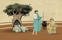 Odysseus and Penelope: the reveal - Rhapsody ΣΤ' | Illustration for the website Ithaki olive oil