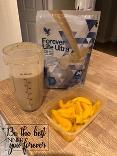 Vanilla protein shake with peaches. Peaches and cream. Perfect for all the family.