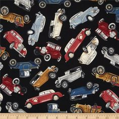 Timeless Treasures Antique Cars Black from @fabricdotcom  Designed by George McCartney for Timeless Treasures, this cotton print is perfect for quilting, apparel and home decor accents. Colors include shades of brown, red, blue, grey, cream, black, and white on a black background.