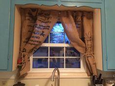 Burlap Coffee Bag Curtains