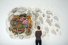 Our Changing Seas III is the third piece in a series of large-scale ceramic coral reef sculptures by artist Courtney Mattison. The sprawling installation is entirely hand-built and