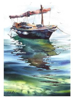 Watercolor Drawing, Watercolor Paintings, Watercolours, Sailboat Art, Water Ripples, Boat Painting, Water Reflections, Sea And Ocean, Watercolor Techniques