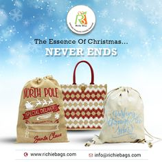 Manufacturer and expoter of Christmas Bags, Christmas Gift Bags, Holiday Gift Wrap Bags. Christmas Gift Bags, Holiday Gifts, Promotional Bags, Jute Bags, Special Delivery, Design Development, Celebrations, Gift Wrapping, Range