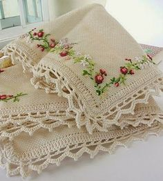 Crochet Edging And Borders Lovely embellishment and crochet lace edge - reminds me of times spent with Grandma learning to crochet edges on napkins, hankies, pillow slips - well you have the idea! Crochet Edging Patterns, Crochet Lace Edging, Crochet Borders, Crochet Edgings, Ribbon Embroidery, Cross Stitch Embroidery, Embroidery Patterns, Linens And Lace, Needlework