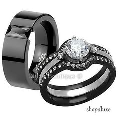 HIS & HERS 4 PIECE BLACK STAINLESS STEEL WEDDING ENGAGEMENT RING BAND SET | Jewelry & Watches, Engagement & Wedding, Engagement/Wedding Ring Sets | eBay!