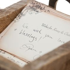 For their guestbook, this bride and groom asked guests to fill out wish cards with hopes for their marriage. The cards were hand-stamped and purchased on Etsy. (Melissa Musgrove Photography)