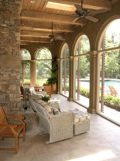 screened porch, skylights, arches, exposed ceiling