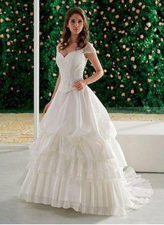 A-Line/Princess Off-the-Shoulder Chapel Train Taffeta Organza Wedding Dress With Lace Beading Sequins Cascading Ruffles