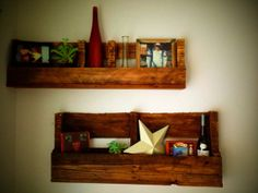 Set of 2 Reclaimed Pallet Shelves Stained by BWLWoods on Etsy, $60.00