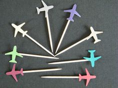 50 - Airplane Food Picks -You Pick the Colors-Entertaining-Cupcake toppers -Party Decorations-Toothpicks-Destination Wedding. $12.00, via Etsy.