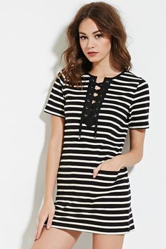 £20 Striped Lace-Up Shift Dress - Dresses - 2000184975 - Forever 21 UK