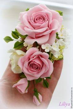 """Купить Зажим для волос """"Розовый сад"""" - бледно-розовый, розы, заколка для волос, заколка с цветами"""