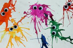 Handicrafts with children: watercolor monsters - HANDMADE culture- Basteln mit Kindern: Wasserfarbenmonster – HANDMADE Kultur Crafts with children: watercolor monsters - Kids Crafts, Toddler Crafts, Easy Crafts, Diy And Crafts, Arts And Crafts, Preschool Crafts, Ideias Diy, Monster Party, Art Activities