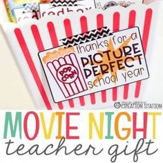 Whether you are getting something special for your co-workers, kids' teachers or administrators a movie night basket might be the perfect teacher gift. Grab the free printable teacher gift tags to go along with this easy, yet affordable teacher gift. #teachergift #teacher #movienight #movienightgift #freeprintable #movienightbasket #mrsjonescreationstation