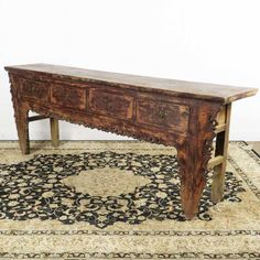 "$1300 antique Chinese 4 Drawer Carved Console Table - 93"" long"