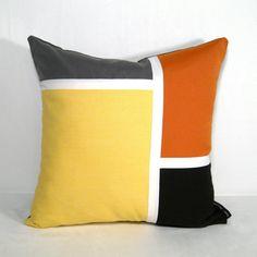 Color Block Pillow Cover - Yellow Outdoor Pillow - Decorative Brown Orange Grey - Colorblock - Retro Modern Mondrian - Cushion 16 18 20 inch...
