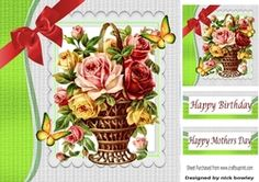 pretty basket of mixed roses with big bow 8x8 on Craftsuprint - View Now!