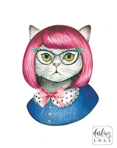 Cat Watercolor Print - Retro Cat Portrait- Cat Painting  - Animal Art - Hipster - Pink Hair - Mod
