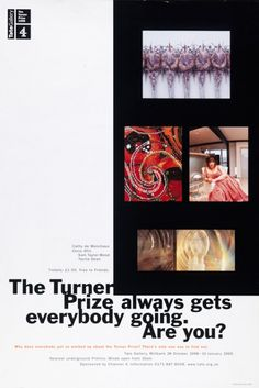 Timeline of Tate Britain's Turner Prize history from 1984 to present Turner Prize, Tate Britain, Damien Hirst, Exhibitions, All Art, Contemporary Art, Editorial, Posters, History