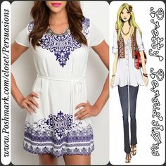 "NWT Ivory & Purple Printed Boho Dress Tunic NWT Ivory & Purple Boho Printed Boho Dress Tunic   ** PLEASE do not purchase this listing. If you'd like to purchase I will make you a personal listing **  Available in sizes: S, M, L Measurements taken in inches from a size small:  Length: 33"" Bust: 32""  Features: • short sleeves  • pretty purple print  • v-neckline  • ties at waist  Bundle discounts available  No pp or trades Pretty Persuasions Dresses"
