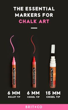 Bookmark this to learn all about the essential markers you need to make beautiful chalk art pieces. You can also learn even more about chalk ink art with this online class where you will learn how to add extra oomph to all kinds of handmade signs for your next event using stencils, chalk ink pens and so much more.