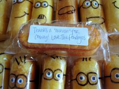 "Decorate individually wrapped Twinkies ON THE OUTSIDE to be minions. For Valentine's Day ""... one in a minion"""