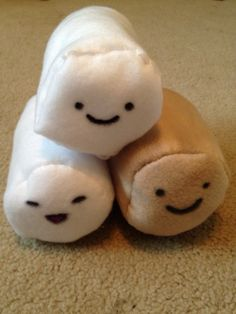2014 Summer - Teaching the boys to sew.  We made marshmallows based on Cloudy With A Chance of Meatballs II. These have been named Marshmallow, Licky, and Toasty.