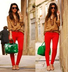 bright pants and neutral top