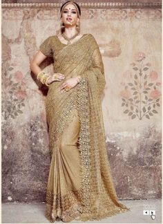 Latest Golden Embroidery Heavy Moti And Mirror Work Saree