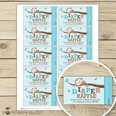 Monkey Boy Baby Shower Diaper Raffle Tickets - Instant Download