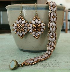 Linda's Crafty Inspirations: SuperDuo Rosette Bracelet & Cute and Easy Earrings Set