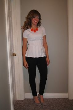 #SITC What I Wore ~ Peplum Top, Black Skinny Pants, Nude Pumps & #SITC Floral Necklace ~ My Fall Style http://sextoninthecity.ca/sitc-peplum/