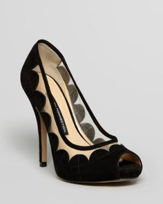 FRENCH CONNECTION Peep Toe Platform Pumps - Dream Scalloped Mesh  Bloomingdale's