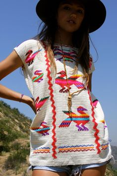 mexican embroidered tunic top
