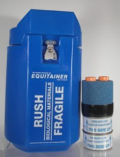 Equitainer I - Tube Style Isothermalizer  Cooled semen shipper for the breeding barn.