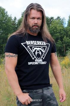 """Top-quality t-shirt with a front print: """"Berserker, Viking Shock Troops"""", a Valknut tripple-triangle and a roaring bear. The Valknut is a symbol of Odin, the god of the Berserker. The bear represents the state of mind of the raging Berserker. Viking Men, Viking Warrior, Viking Hair, Viking Life, Roaring Bear, Viking Quotes, Viking Clothing, Old Norse, Quality T Shirts"""