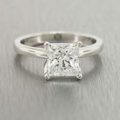 Estate Platinum Princess Cut Diamond Engagement Ring