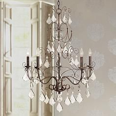"Roslyn Crystal 28"" Wide Golden Bronze Chandelier"