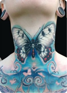 97ca869c8 Large Blue Butterfly Tattoo On The Neck ~ Butterfly Tattoo Ideas. Inked  Magazine