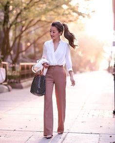 After a lot of request, here are the shopping destinations for this outfit - Top $35.99 = bit .ly/2oDTwHm ; Bottoms $54 = bit .ly/2q7fSSZ   - World Shipping White and beige corporate classy outfit for business women + entrepreneurs. Fashion for the office! Dress to impress