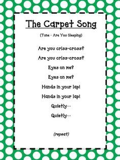 The Carpet Song – green polka dot The Carpet Song – green polka dot - Kindergarten Lesson Plans Kindergarten Songs, Preschool Songs, Preschool Learning, Preschool Goodbye Song, Preschool Good Morning Songs, Music Activities For Preschoolers, Songs For Kids, Preschool Room Decor, Preschool Teacher Quotes