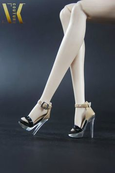 SK127 Black Sandals High Heels Shoes for New Fashion Royalty body, Fr2