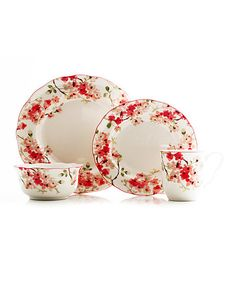 Cherry Blossom White 16-Piece Dinnerware Set