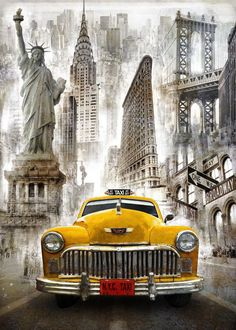 New York Taxi - Diy Diamond Embroidery Painting Kit. On Sale New York Taxi, New York City, Top Photos, Gravure Illustration, Illustrations Vintage, Etiquette Vintage, Foto Transfer, Decoupage Vintage, Paint By Number