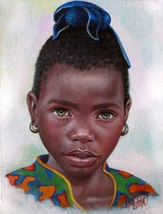 Nina de Africa, by Dora Alis Mera V. Portraits of Innocence is a collection inspired by children. Dora Alis selected original compositions and recreates imagined scenes portraits in which plasma on the canvas while preserving the look of innocence. This time she presents a series of portraits of children belonging to different ethnic groups in Africa. The color work is striking as the softness of the brushstrokes achieving significant realism without losing the magic of painting.