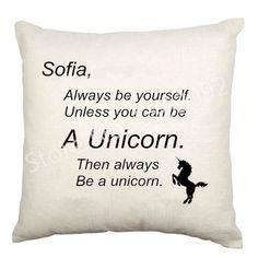 Siempre Ser Un Nombre de Encargo Divertido Unicornio Unicornio Throw Pillow Case Funda de Cojín de Terciopelo Personalizados Regalos de La Muchacha Carta Decoración 45x45