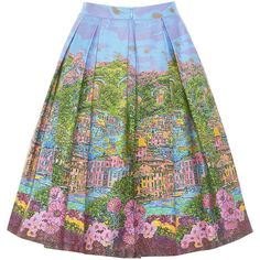 'Kathy' Purple Riviera Print Swing Skirt ($36) ❤ liked on Polyvore featuring skirts, swing skirts, print skirt, flippy skirt, purple print skirt and patterned skirts