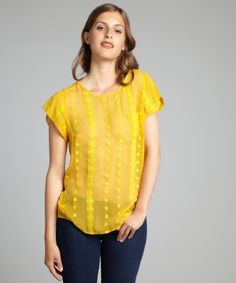 Zoa: sunflower crinkle silk chiffon embroidered pocketed blouse