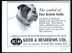 1960 English Bulldog photo Keith & Henderson cloth patterns vintage print ad. Pinned by Judi Crowe.
