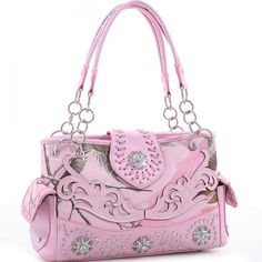 Realtree® Floral Embroidered Triple Floral Cutout Western Studded Shoulder Bag, Concealed Carry Fashion Handbags, Fashion Bags, Small Diaper Bag, Camo Guns, Mossy Oak Camo, Concealed Carry Purse, Pink Camo, Purse Wallet, Purses And Bags